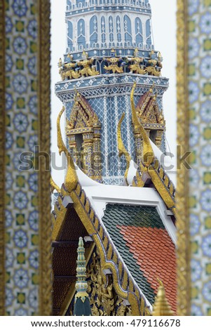the temple of Wat Phra Kaew in Banglamphu in the city of Bangkok in Thailand in Suedostasien.