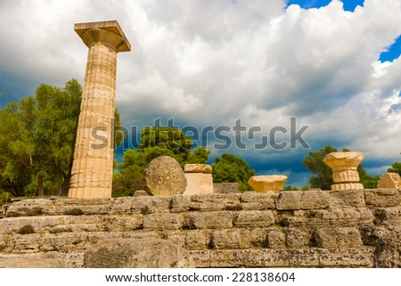 The Temple of Zeus ruins in ancient Olympia, Peloponnes, Greece  - stock photo