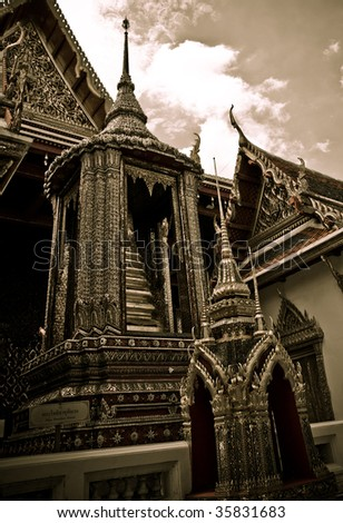 The temple Wat phra kaeo in the Grand palace area, one of the major tourism attraction in Bangkok, Thailand