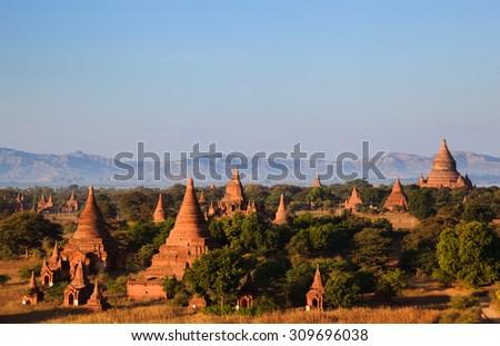 The  Temples of Bagan at sunrise, Mandalay, Myanmar - stock photo