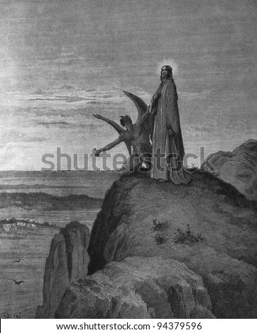 The Temptation of Jesus. 1) Le Sainte Bible: Traduction nouvelle selon la Vulgate par Mm. J.-J. Bourasse et P. Janvier. Tours: Alfred Mame et Fils. 2) 1866 3) France 4) Gustave Doré - stock photo