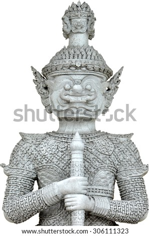 The ten faces titan of Thailand. He standing in front of the Palace's door for guarding the stranger. [Public statue]
