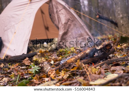 The tent is in the autumn forest a