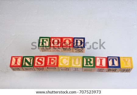 The term food insecurity displayed visually on a white background using colorful wooden toy blocks in landscape format with copy space