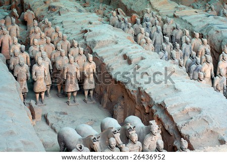 The Terracotta Warriors and Horses in Emperor Qin Shihuang's mausoleum - stock photo
