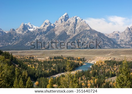 The Teton mountain range and Snake River at the Snake River overlook in the Grand Teton National Park, Wyoming. - stock photo
