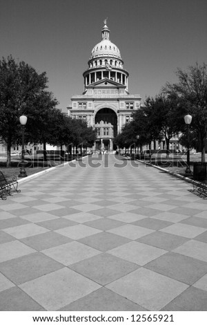 The Texas State Capitol Building entrance from downtown Austin. - stock photo