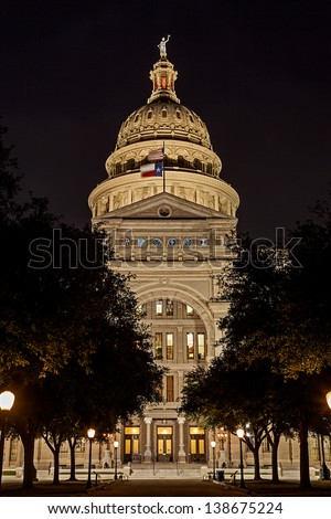The Texas State Capitol Building in downtown Austin at Night - stock photo