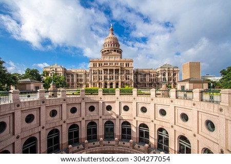 The Texas State Capitol with open-air rotunda. It was completed in 1888 in Downtown Austin. It contains the offices and chambers of the Texas Legislature and the Office of the Governor.