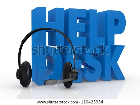 the text help desk and headphones with a mic near it (3d render) - stock photo