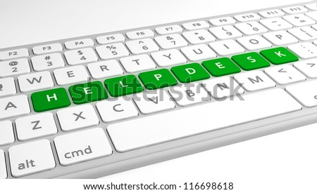 The text Helpdesk as keys on a keyboard. - stock photo