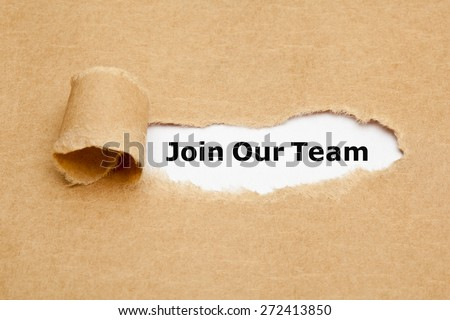 The text Join Our Team appearing behind torn brown paper.  - stock photo