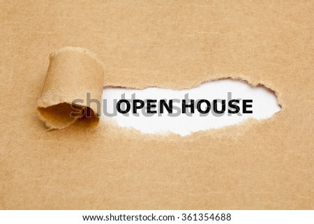 The text Open House appearing behind torn brown paper.  - stock photo
