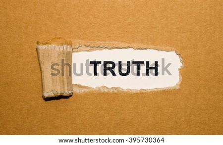 The text Truth appearing behind torn brown paper - stock photo