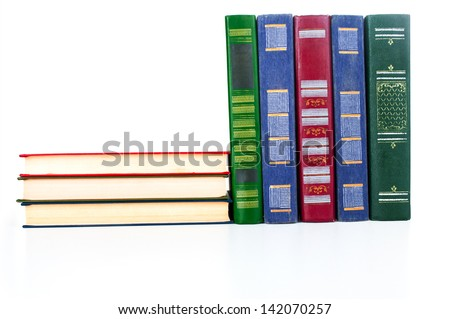 The textbooks on white table