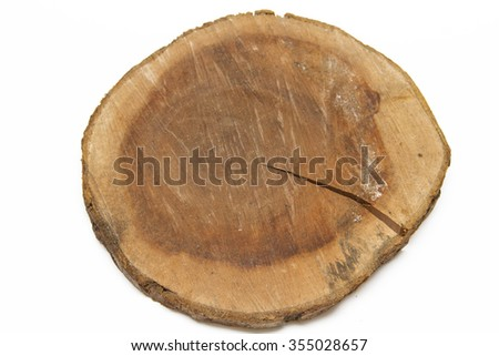 The texture of a tree with a rough cut in the shape of a circle.
