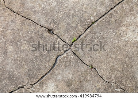 The texture of the old cracked asphalt. Grass grows from cracks in the road.  - stock photo