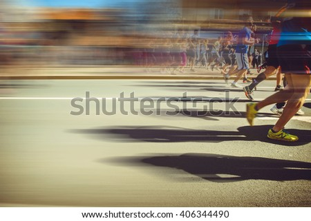 The 29th Belgrade Marathon, 16th April 2016. Athletes run through the streets of the Belgrade city - stock photo