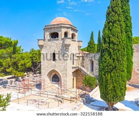 The 15th century Monastery of Filerimos Rhodes Dodecanese Greece Europe - stock photo