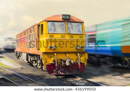 The thailand train with motion blur - stock photo