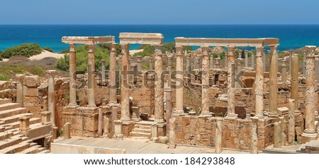 The Theater at the spectacular ruins of Leptis Magna near Al Khums, Libya - stock photo