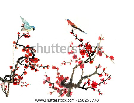 the theme of nature,Chinese element--plum blossom with bird, a sign for spring