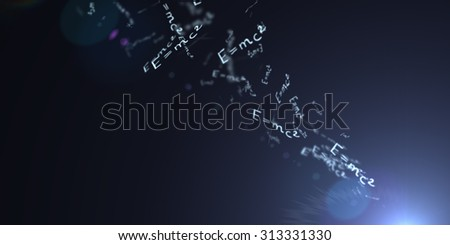 The theory of relativity. Flying formula. Einstein's law. concept of Education - stock photo