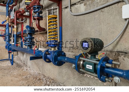 the thermal system in the basement - stock photo