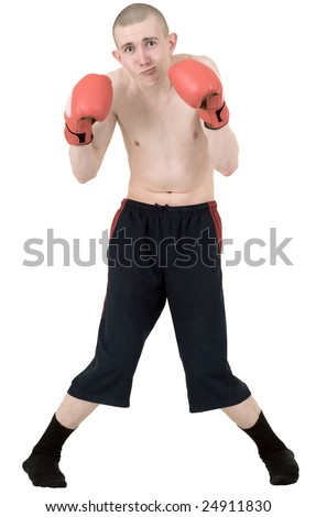 The thin boxer in gloves on a white background - stock photo