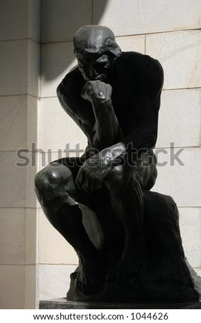 The Thinker, a famous statue by Auguste Rodin - stock photo
