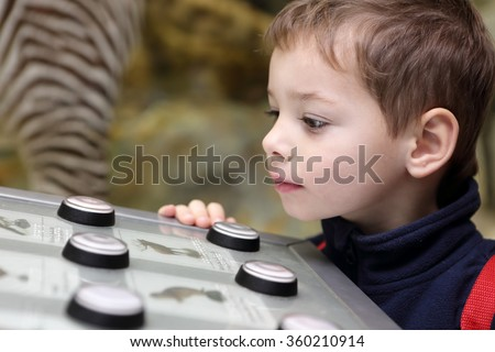 The thinking boy studying birdsong in the museum - stock photo
