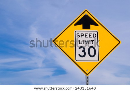 "The ""Thirty M.P.H. Ahead"" street sign. - stock photo"