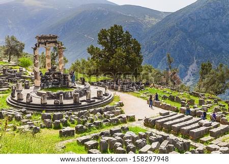 The Tholos at the sanctuary of Athena Pronoia,Delphi,Greece - stock photo