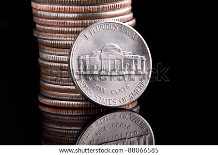 The Thomas Jefferson head Nickel, with his home, Monticello on the reverse - stock photo
