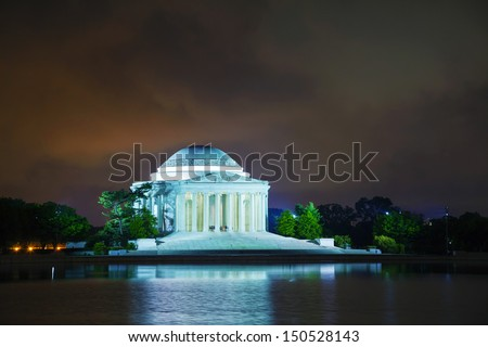 The Thomas Jefferson Memorial in Washington, DC at night