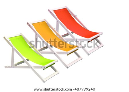 The three beach chairs colorful on isolated white background