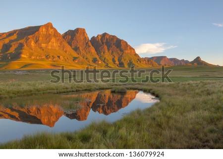 The Three Bushmen at Sehlabathebe NP in Lesotho - stock photo