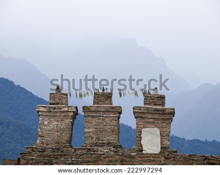 The three chortens at Sikkims ancient capitol Rabdentse (India) in the Himalayan mountains - stock photo