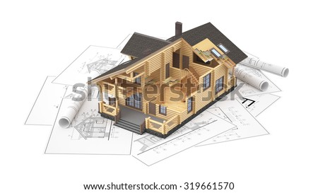 The three-dimensional image of a modern wooden house on a background of drawings. Objects isolated on white background. - stock photo