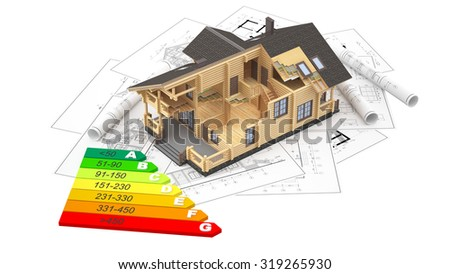 The three-dimensional image of a modern wooden house on a background of drawings with energy efficiency diagram. Objects isolated on white background. - stock photo
