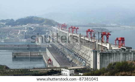 the Three Gorges Dam at Yangtze River in China at evening time - stock photo