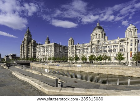 The Three Graces on Liverpool's waterfront - stock photo