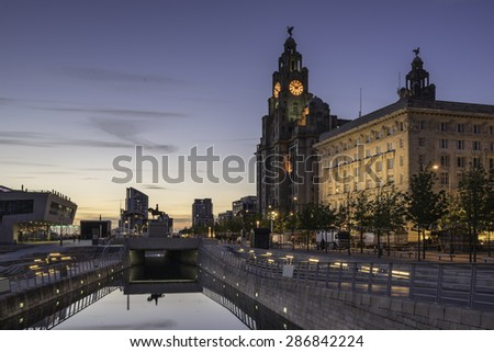 The Three Graces on Pier Head Liverpool - stock photo
