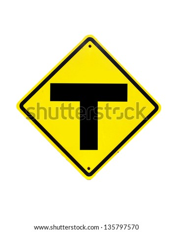 The three intersection traffic sign on white - stock photo