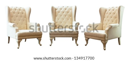 The Three of white luxury armchair isolated on white background - stock photo