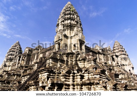 The three towers of Angkor Wat, Siem Reap, Cambodia - stock photo