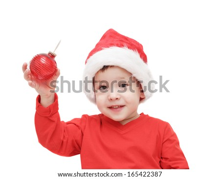 the three-year-old kid considers a fir-tree sphere