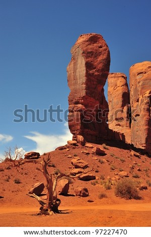 The thumb rock formation, Monument Valley is a region of the Colorado Plateau - stock photo
