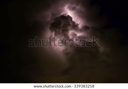 The Thunder and  lightning. The sky Black and white tone. - stock photo