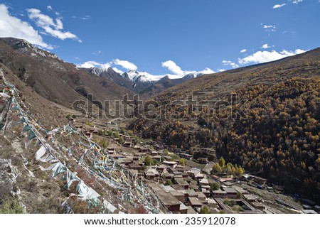 the Tibetan town in the  mountain valley.